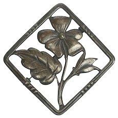 Danecraft Sterling Silver Pin Flower Brooch circa 1930s Canadian Mark