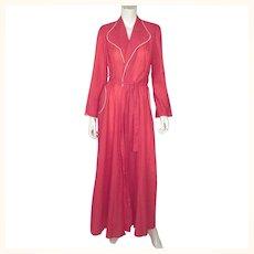Vintage 1950s Dressing Gown Pink Lightweight Seersucker by Morsam Ladies Size L