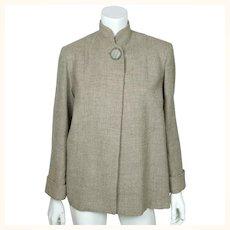 Vintage 1950s Swing Jacket Short Coat Grey Tweed Wool Ladies Size L