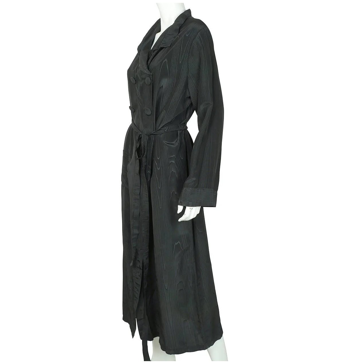 Vintage 1930s Dressing Gown Black Moire Silk Lounging Robe Ladies Size Poppy S Vintage Clothing Ruby Lane