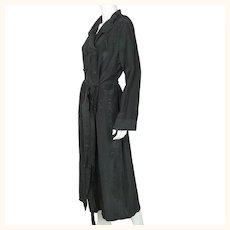 Vintage 1930s Dressing Gown Black Moiré Silk Lounging Robe Ladies Size M L