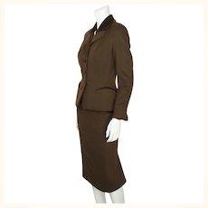 Vintage 1950s Skirt Suit Brown Wool Meme Dysthe Montreal Designer Morgans Sz S M