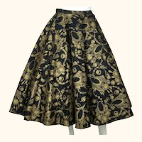 "Vintage 1950s Felt Circle Skirt Gold Necklace Print Rockabilly Rock n Roll 25"" W"