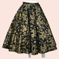 "Vintage 1950s Felt Circle Skirt Gold Necklace Print Rockabilly Rock n Roll 25"" W"