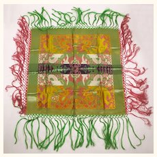 Vintage WWII Era 1940s Shawl Tablecloth Silk Brocade Taj Mahal Style