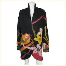 Vintage 1990s Black Knit Wool Sweater Coat with Floral Pattern