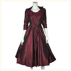 Vintage 1950s Party Dress Burgundy Wine Silk Taffeta w Crinoline Skirt Size M