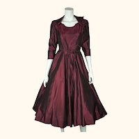 Vintage 1950s Party Dress Burgundy Wine Silk Taffeta w Crinoline Skirt Size M