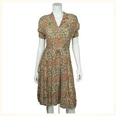 Vintage 1940s Day Dress Paisley Print Silk Crepe Size M