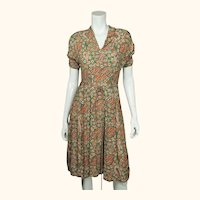 Vintage 1940s Day Dress Paisley Print Silk Crepe Size M