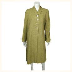 Vintage 1950s Coat Green Herringbone Tweed Wool Ladies Size M L