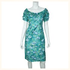 Vintage Ceil Chapman Wiggle Dress Floral Printed Cotton 1950s Size M