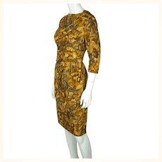 Vintage Ceil Chapman Wiggle Dress Abstract Leaf Pattern Printed Silk 1950s Sz M