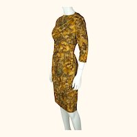 Vintage Ceil Chapman Wiggle Dress Abstract Leaf Pattern Printed Silk 1950s Sz M