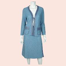 Vintage 1970s Pierre Falaise Paris Knit Skirt Suit Comformode France Ladies Sz M