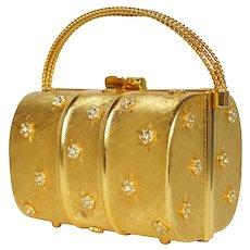 Vintage 1960s Rodo Minaudiere Evening Bag Gold Metallic Box Purse Mini Handbag