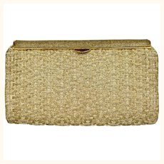 Vintage 1950s 60s Gucci Minaudiere Gold Metallic Basketweave Evening Clutch