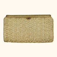 Vintage 1950s 60s Gucci Minaudiere Gold Metallic Basketweave Evening Clutch