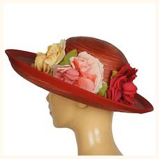 Vintage 1940s Red Straw Hat Wide Brim Flower Decoration Flore Deschamps Montreal