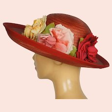 Vintage 1940s Red Straw Hat Wide Brim Flower Decoration Flore Deschamps Montreal