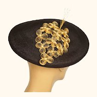 Vintage 1930s 40s Ladies Brown Straw Beret Hat Flore Deschamps Montreal Small