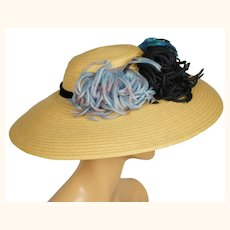 Vintage 1940s Wide Brim Straw Hat with Silk Decoration Flore Deschamps Montreal