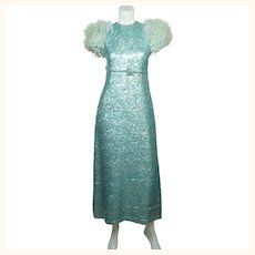 Vintage 1960s Blue Sequin Ball Gown Evening Dress - Sz Small