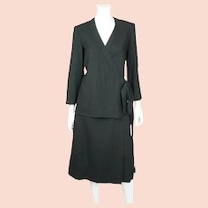 Vintage 1970s Designer Guy Laroche Black Wool Skirt Suit 2 Piece Ensemble Sz 12