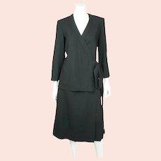 Vintage 1970s Designer Guy Laroche Black Wool Skirt Suit 2 Piece Ensemble Sz 12
