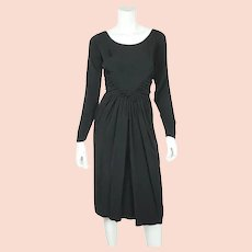 Vintage 1950s Black Silk Cocktail Party Dress Dupuis Freres Montreal Size M