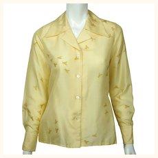 Vintage 1970s Silk Shirt Blouse Bee Pattern Lady Van Laack Germany Holt Renfrew