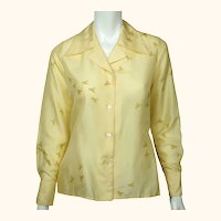 Vintage 1970s Silk Shirt Blouse Bee Pattern Lady Van Laack Germany Holt Renfrew