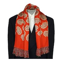 Vintage Mens Red Silk Fringed Paisley Scarf by Forsyth 1940s Fashion Foulard
