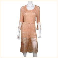 Vintage 1920s Silk Crochet Dress Pink Fringed Flapper Style Size M