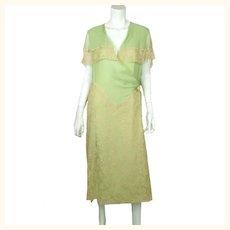 Vintage 1920s Green Chiffon Silk & Lace Peignoir Dress Flapper Style Size M