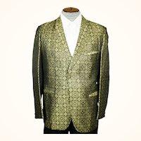 Vintage 1960s Gold Lame Brocade Tuxedo Dinner Jacket Mens Size Medium