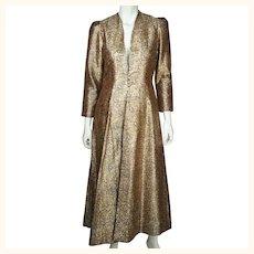 Vintage Gold Metallic Brocade Evening Coat 1960s Ladies Size Medium
