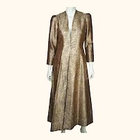 Vintage Gold Metallic Brocade Evening Coat 1960s Ladies Size Medium