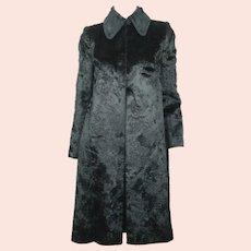 Vintage 1960s Jean Patou Boutique Paris Black Velvet Coat France Ladies Size M