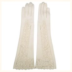 Vintage 1950s White Antelope Leather Cutwork Lace Gloves Size 6.5 Excellent