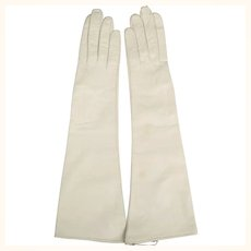 Vintage 1950s Long White Kid Leather Gloves Unused Made in France Ladies Sz 6.5