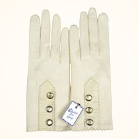 Vintage NOS Ladies White Kid Leather Gloves Unused with Tag & Snap Closures Sz 7