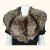 Vintage Silver Fox Fur Collar 1940s Full