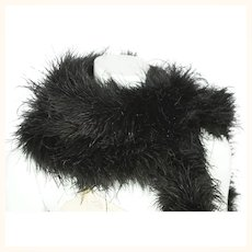 "Antique Black Ostrich Feather Boa Authentic Edwardian Feathered Scarf 70"" Long"