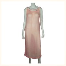 Vintage 1920s Pink Silk Chiffon Nightie with Lace Trim Nightgown