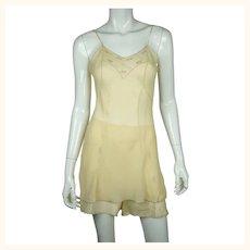 Vintage 1930s Chemise & Step In Panties Set Embroidered Silk Georgette