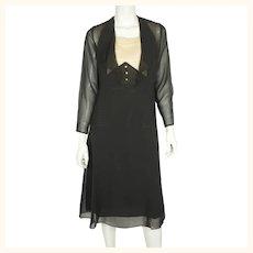 Vintage 1920s Black Silk Chiffon Day Dress with Lace Bib Size Medium