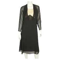 Vintage 1920s Black Silk Chiffon Day Dress with Lace Bib Size Medium