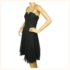 Vintage 1970s Giorgio Beverly Hills Cocktail Dress Black Silk Chiffon & Lace M