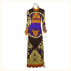 Vintage Leonard Fashion Paris 1970s Silk Jersey Dress Mod Print Size Medium